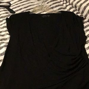 Black Faux Wrap Blouse